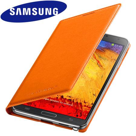 Official Samsung Galaxy Note 3 Flip Wallet Cover - Wild Orange