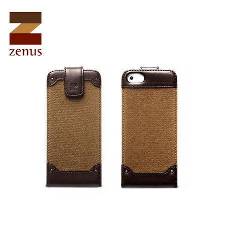 Zenus Fabric Rock Vintage Folder Case for iPhone 5S / 5 - Dark Beige