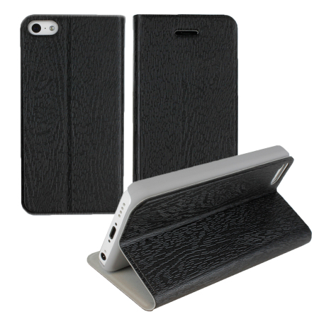 Grainz Wood Grain Folio Case For Apple iPhone 5C - Black