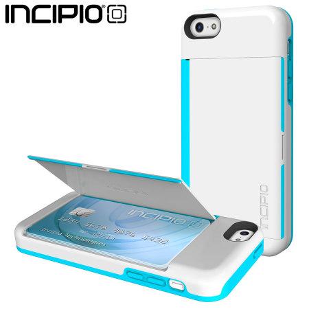 new concept f314b 685a7 Incipio Stowaway Credit Card Case for iPhone 5C - White / Aqua