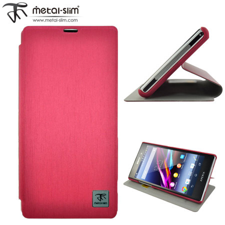 Metal-Slim Classic U Case with Stand for Sony Xperia Z1 - Red