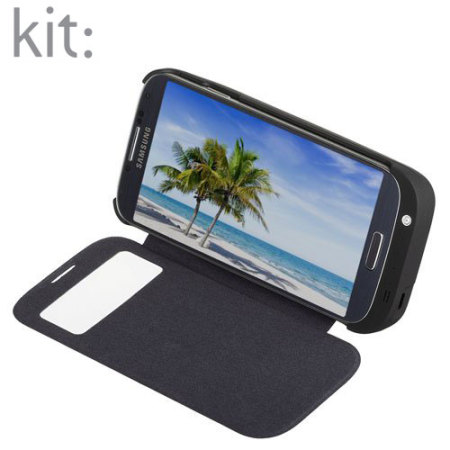 separation shoes b61f3 4c7c6 Kit 3700mAh Battery Case with Flip Cover for Galaxy S4 - Black