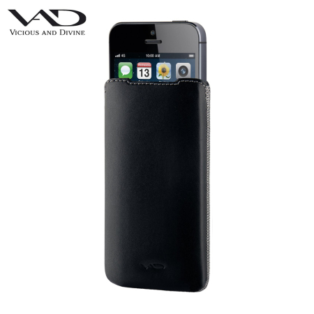 VAD Superior Leather Soft Pouch ML for iPhone 5S / 5C / 5 - Black