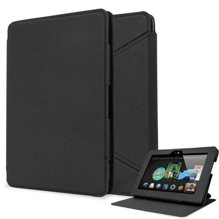 Folio Leather Style Stand Case for Kindle Fire HDX 7 - Black