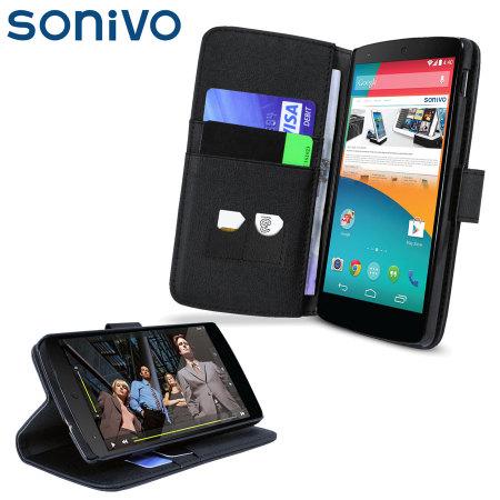 Sonivo Premium Wallet Stand Case for Nexus 5 - Black