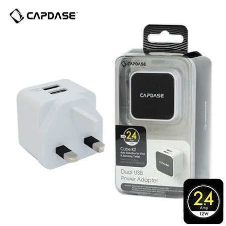 Capdase Dual USB Power Adapter-Cube K2 2.4Amps - White