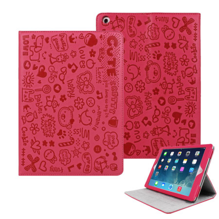 cartoon magic girl case with stand for ipad air   hot pink