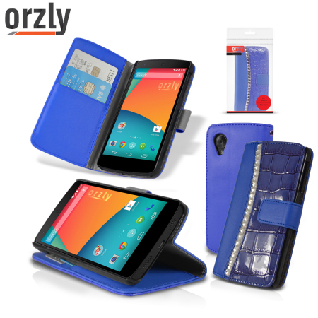 Orzly Rocksy Wallet Case for Nexus 5 - Blue