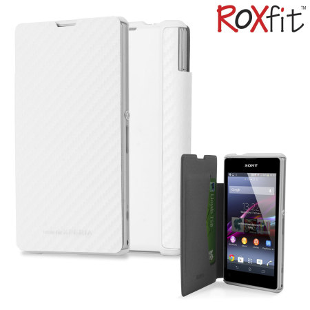 sony xperia z1 white. roxfit book flip case for sony xperia z1 compact - carbon white