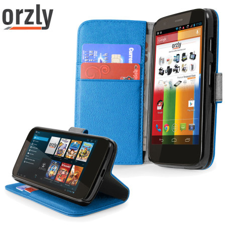 Orzly Multi-Function Wallet Case for Moto G - Blue