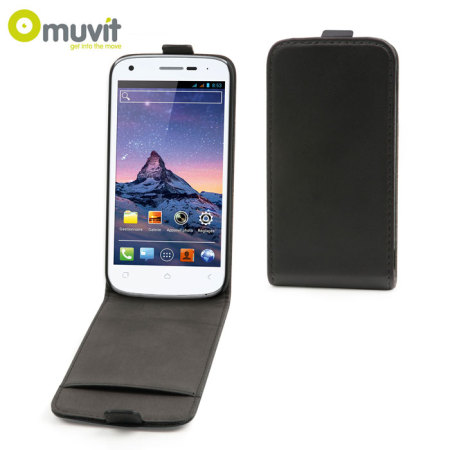 Muvit Slim Leather Style Flip Case for Wiko Cink Peax 2- Black