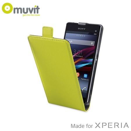 Muvit Slim Leather Style Flip Case for Sony Xperia Z1 Compact - Lime