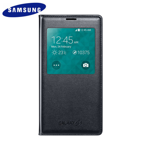 Official Samsung Galaxy S5 S-View Premium Cover Case - Blue Black