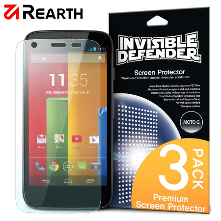 Rearth Invisible Defender 3 Pack Screen Protector for Motorola Moto G