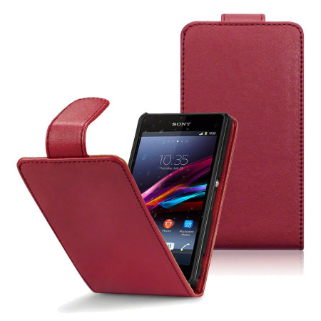 Qubits Faux Leather Flip Case for Sony Xperia Z1 Compact -Red