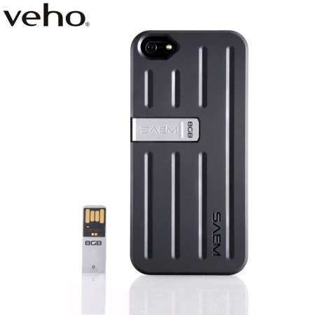 Veho SAEM™ S7 iPhone 5S/5 Case with 8GB USB Memory Drive - Black