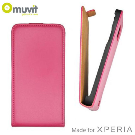 Muvit Slim Leather-Style Flip Sony Xperia E1 Case - Pink