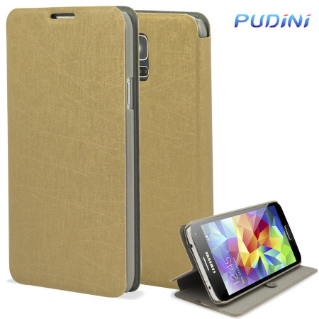 Pudini Samsung Galaxy S5 Flip and Stand Case - Gold