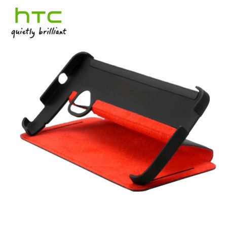 Official HTC One M7 Dual SIM Flip Case - HC J841 - Black / Red