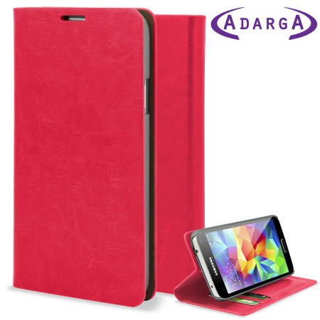Adarga Leather-Style Wallet Case for Samsung Galaxy S5 - Pink