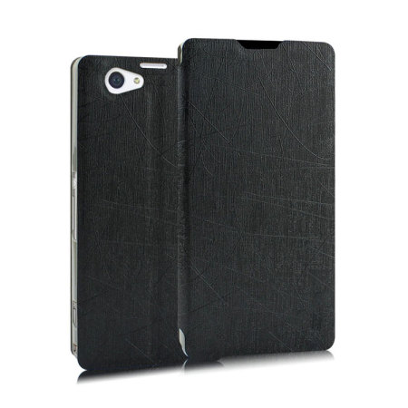 Pudini Flip and Stand Sony Xperia Z2 Satin Style Case - Black