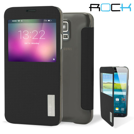 premium selection e9809 8367b ROCK Elegant Samsung Galaxy S5 Smart View Flip Case - Black