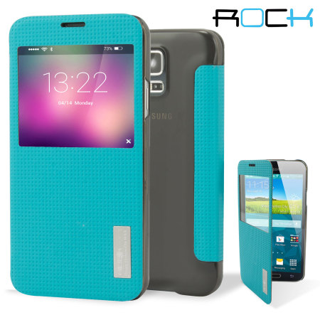 rock elegant samsung galaxy s5 smart view flip case blue