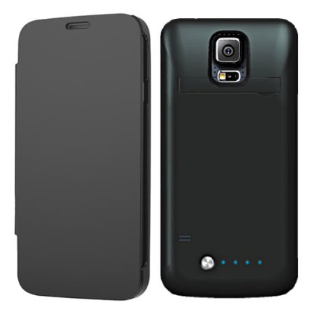meet 59ca0 c3427 Samsung Galaxy S5 Power Bank Flip Case - Black
