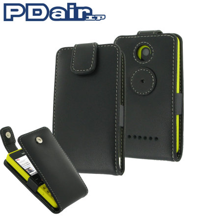 brand new aa969 62532 Pdair Leather Flip Nokia Asha 210 Case - Black