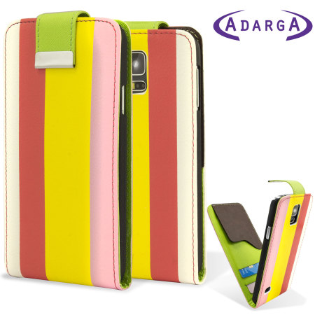 Adarga Leather-Style Galaxy S5 Wallet Flip Case - Rainbow Stripe