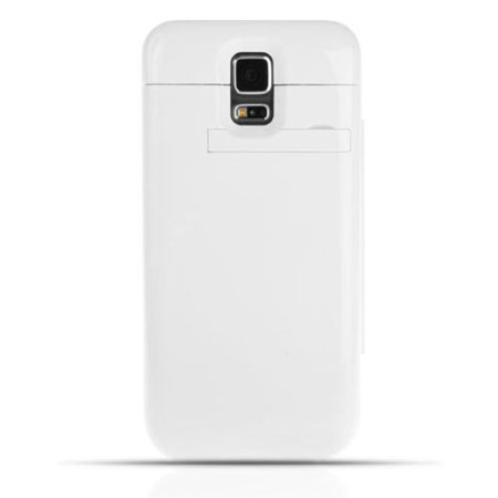 Samsung Galaxy S5 Power Jacket Book Flip Case 4800mAh - White