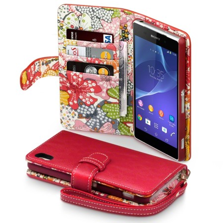 Sony Xperia Z2 Leather-Style Wallet Case - Red with Lily