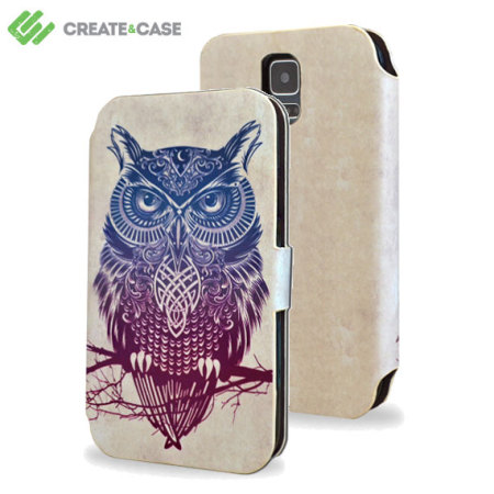 Create and Case Samsung Galaxy S5 Book Case - Warrior Owl
