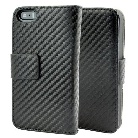 Slimline Carbon Fibre-Style iPhone 5S / 5 Wallet Case - Black
