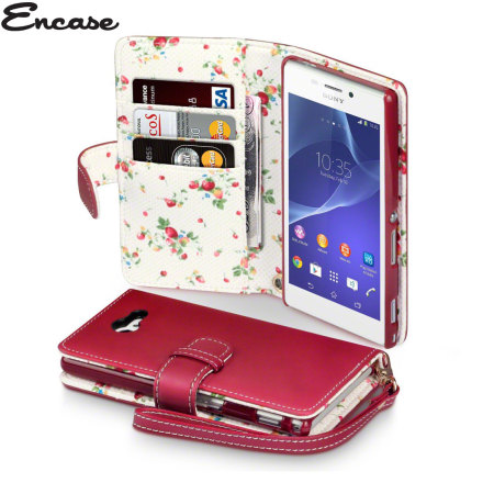 huge discount c86fa c7e67 Encase Leather-Style Sony Xperia M2 Wallet Case - Floral Red