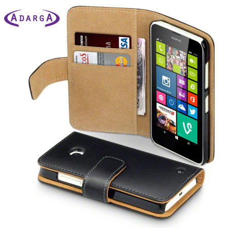 get cheap c59f5 d7c82 Adarga Nokia Lumia 630 / 635 Leather-Style Wallet Case - Black / Tan