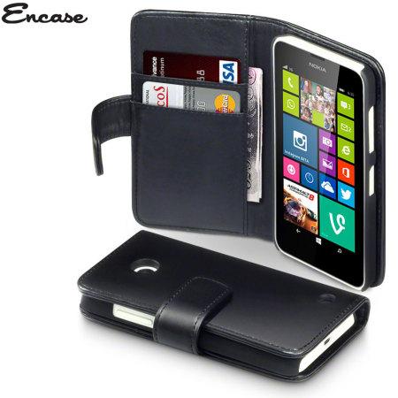 more photos 9579e f001f Encase Nokia Lumia 630 / 635 Genuine Leather Wallet Case - Black