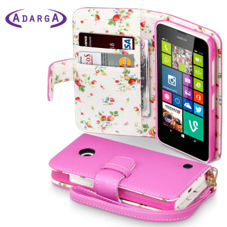 the best attitude 0f5dc 79676 Nokia Lumia 630 / 635 Leather-Style Wallet Case - Pink