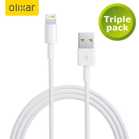 3x Olixar iPhone 5S / 5C / 5 Lightning naar USB Sync & Charge Cables