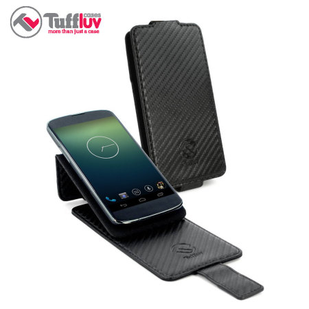 Universal Carbon Fibre-Style Smartphone Flip Case and Stand - Black