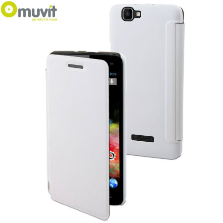 save off 7f764 c8464 Muvit Easy Folio Leather-Style Wiko Rainbow Case - White