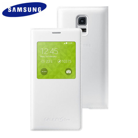 finest selection b3c3e f040a Official Samsung Galaxy S5 Mini S-View Premium Cover - Metallic White