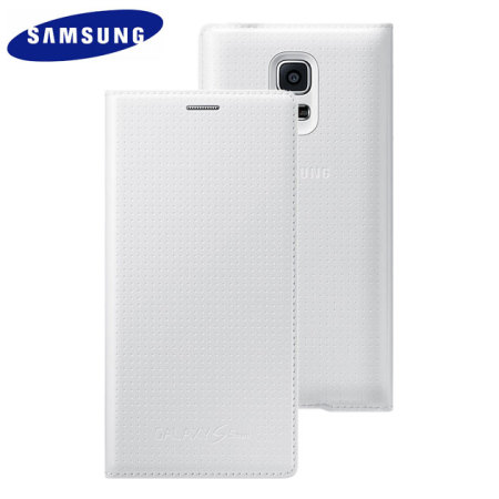 Official Samsung Galaxy S5 Mini Flip Case Cover - Dimpled White