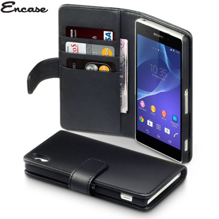 Encase Sony Xperia Z2 Genuine Leather Wallet Case - Black