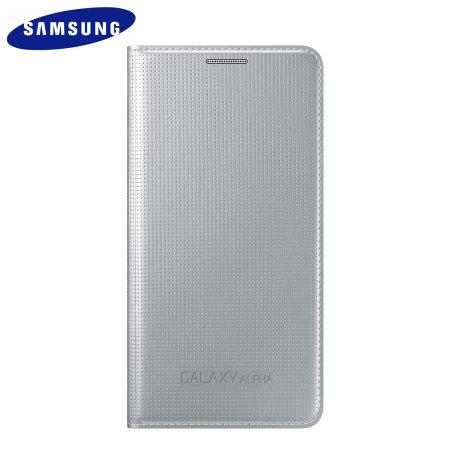 Official Samsung Galaxy Alpha Flip Cover - Silver