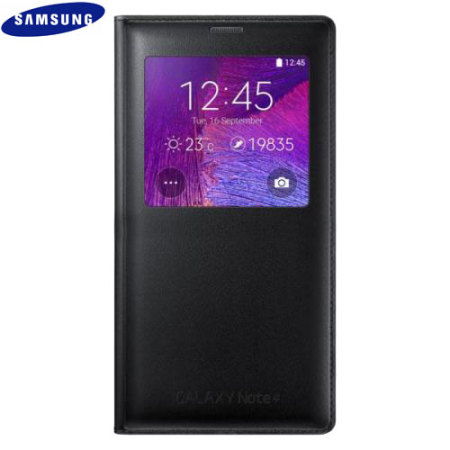 new styles ee685 d6f52 Official Samsung Galaxy Note 4 S View Cover Case - Smooth Black