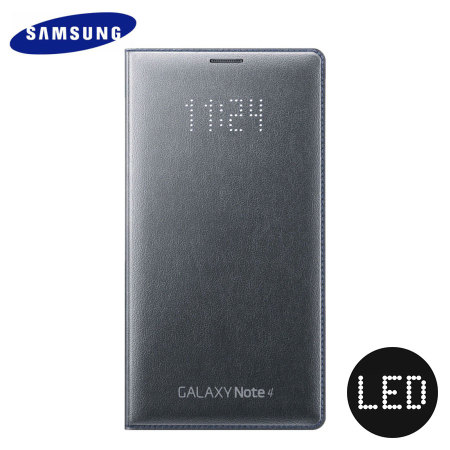 Official Samsung Galaxy Note 4 LED Flip Wallet Cover - Charcoal Grey
