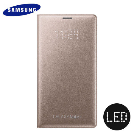 sale retailer a14a9 01c76 Official Samsung Galaxy Note 4 LED Flip Wallet Cover - Bronze Gold