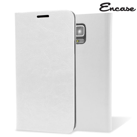 Encase Leather-Style Galaxy Note 4 Wallet Stand Case - White