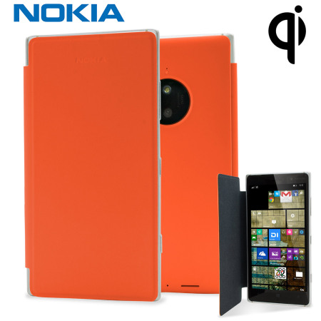 big sale fc404 b9934 Official Nokia Lumia 830 Wireless Charging Flip Shell Cover - Orange